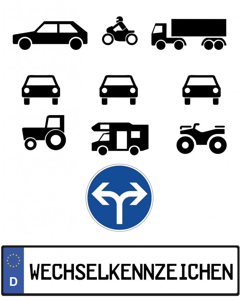 Wechselkennzeichen für verschiedene KFZ's